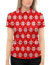 """Рубашка Поло с полной запечаткой """"<b>Красно</b>-<b>белый</b> узор ..."""