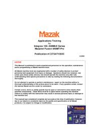 mazak integrex e 1060v 6 ii maintenance manual cnc manual mazak integrex applications training machine alignments