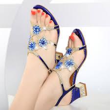 2018 new sandals female <b>summer Korean</b> rhinestone fashion ...
