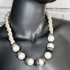 <b>Ann</b> Taylor жемчужное <b>ожерелье</b> атласная веревка <b>кристаллы</b> 22 ...