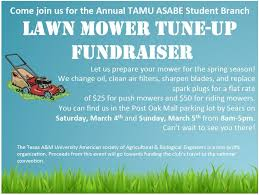 annual tamu asabe lawn mower tune up wtaw proceeds support our pre professional society allowing us to travel to the statewide and national asabe meeting proceeds will also support the tamu tractor