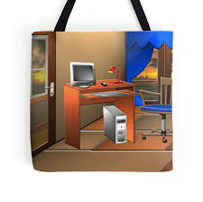 my ideal work place tote bags by sandra smith redbubble my ideal work place by sandra smith