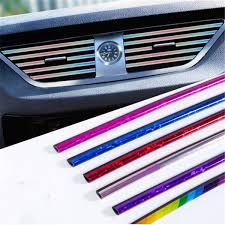 <b>10 Pcs</b> Car Trim Strip Colorful Styling <b>Plating Air Outlet</b> Auto Interior ...