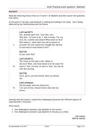 aqa practice exam question macbeth macbeth home page