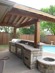 Outdoor Patio Kitchen Wonderful Wooden Awning Pillars And Plafond Also Modern Bull