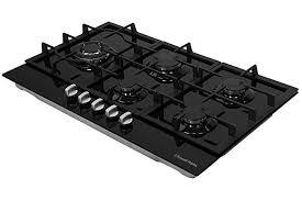 Russell Hobbs RH75GH601B Black Glass <b>75cm</b> Wide, 5 Burner Gas ...