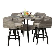 wicker bar height dining table: cannes  piece all weather wicker patio bar height dining set with slate grey