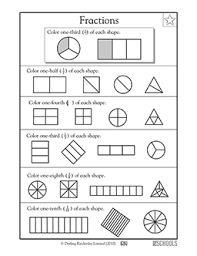 1st grade, 2nd grade Math Worksheets: Finding 1/3 | GreatSchoolsShape fractions