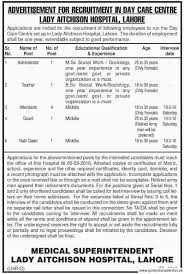 lady aitchison hospital lahore job administrator teacher lady aitchison hospital lahore job administrator teacher attendants day care center