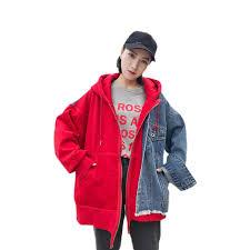 Spring Women <b>Denim</b> Jacket <b>Fashion Splice</b> BF <b>style Fake</b> two ...
