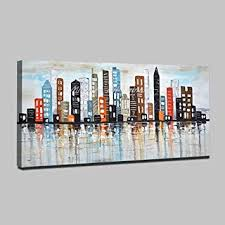 YHYSJ <b>New York Skyline Cityscape</b> Architecture Abstract Wall Art ...