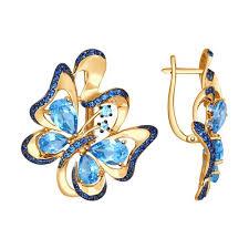 <b>Серьги</b> «<b>Бабочка</b>» из золота с топазами и синими фианитами ...
