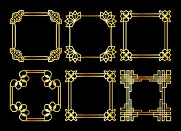 Premium Vector | <b>Golden</b> square vector <b>asian retro</b> frames set