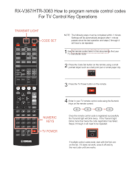Yamaha HTR-3063 How do I program my TV remote control Codes ...
