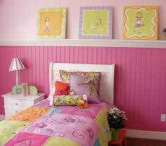 girls room decor ideas painting:  beauty interior bedroom ideas pink walls themes with painting picture as wallpaper on the wall single bed with ivory headboard rainbow light sleeper on the side bed bedroom wall designs ideas decorat