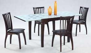 deep brown wood glass dining table