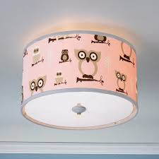 owls drum shade ceiling light available in 3 colors blue khaki pink with pink ceiling light baby room lighting ceiling