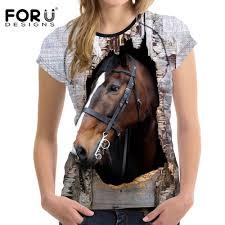 <b>FORUDESIGNS</b> 3D Crazy Horse <b>Women T Shirt</b> Summer Casual ...