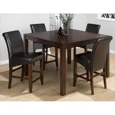cherry counter height piece: carlsbad cherry counter height  piece dining set with black bonded leather stools  x bskd