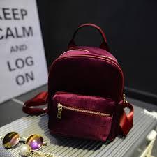 Fashion <b>Temperament</b> Velvet Solid Color <b>Women's Backpack</b> ...