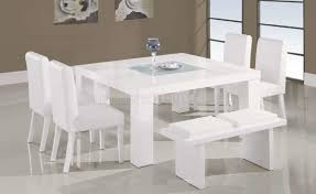 Dining Room Tables With Bench Fancy White Contemporary Dining Set On Home Design Ideas With