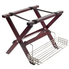 Tablecraft Mahogany Finish <b>Mini</b> Table Tray Stand with <b>Stainless</b> ...
