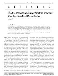 effective leadership behavior what we know and what questions effective leadership behavior what we know and what questions need more attention pdf available