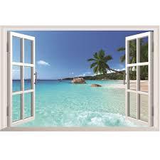1pc waterproof beautiful 3d seascape beach window view removable wall art stickers vinyl decal home decor beach office decor