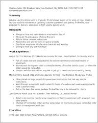 Professional Laundry Worker Templates to Showcase Your Talent     My Perfect Resume