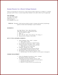 16 example of resume for college student no job experience sample resume for a recent college graduate here s an by batmanishere