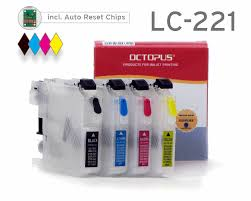 Refillable cartridges for Brother <b>LC-221</b> with <b>autoreset</b> chip | Octopus®