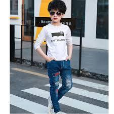 Kids <b>Boy Korean Style</b> Casual <b>Jeans</b> Cartoon Print Soft Long <b>Pants</b> ...