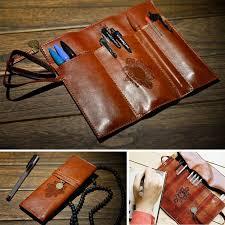 Fashion <b>Vintage Retro Pencil Bag</b> Roll Leather <b>Pen Bag</b> Make up ...