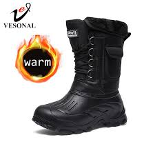New Men's Ankle Boots Waterproof Men <b>Snow Boots Winter</b> Outdoor ...
