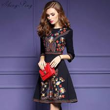 <b>2018</b> new mexican embroidered dress woman black mexican dress ...