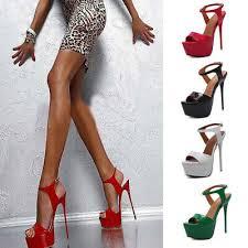 <b>Fashion Women Super High</b> Heels Platform Pumps Ankle Strap ...