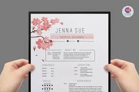 chic resume resume template cv template cover letter template reference letter template cherry floral theme professional cv creative resume