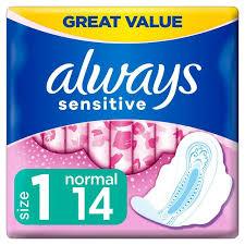 <b>Always Sensitive Normal Ultra</b> (Size 1) Sanitary Towels Wings x14 ...