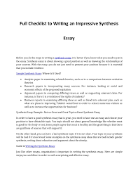 writing an impressive synthesis essay what you need to know full checklist to writing an impressive synthesis essay before you do the steps in writing a