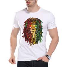 Lion Africa Power t shirt <b>printing</b> Rasta Reggae Music men's fashion ...