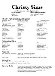 beginners actors resume  actor resume sample  special skills       acting resume happytom co