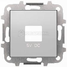 <b>Лицевая панель ABB Sky</b> розетки USB серебристый алюминий ...