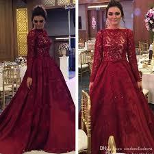 <b>Luxury Burgundy Lace</b> 2019 Arabic Muslim Prom Dresses Long ...