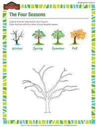 The Four Seasons - Science Worksheets for Kindergarteners - School ...The Four Seasons - Science worksheet for kindergarten kids