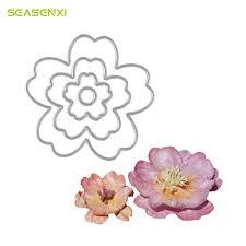 <b>SEASENXI</b> 4PCS <b>Metal Cutting Dies</b> Flowers Stencils For ...