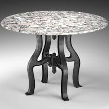 round white marble dining table:  french industrial white marble top round dining table  d model max obj fbx mtl