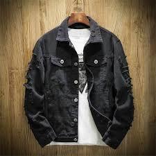 Denim Jacket <b>Men Ripped</b> Holes Mens Pink White Jean Jackets ...