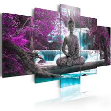 <b>5 Pieces Modular Pictures</b> Buddha Statue Wall Art Waterfull Canvas ...