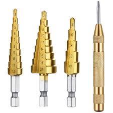 <b>3 pcs HSS Titanium Step</b> Drill Bit Set & 1 pcs Automatic Center Punch