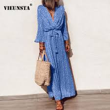 VIEUNSTA Women Casual V neck <b>Floral Print</b> Long Dress Summer ...